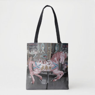 Pink carousel horse tote bag