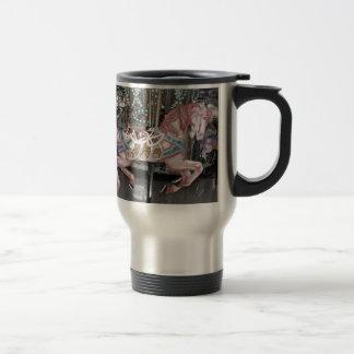 Pink carousel horse travel mug