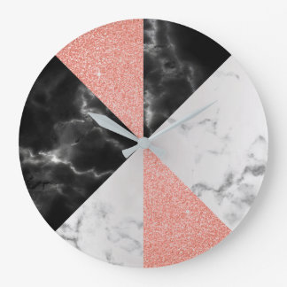 Pink Carrara Marble Gray Glitter Black Luxury Large Clock
