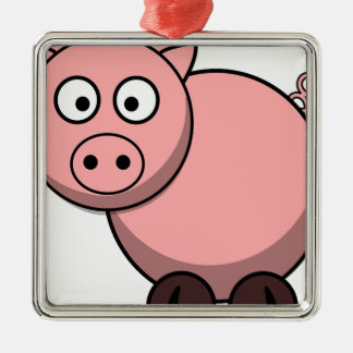 Pink cartoon Piggy Metal Ornament