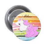Pink cartoon unicorn with stars button