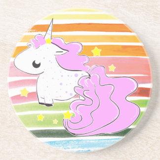 Pink cartoon unicorn with stars coaster