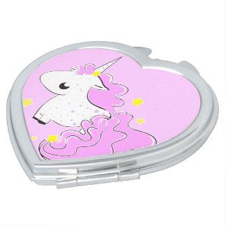 Pink cartoon unicorn with stars heart shaped compact mirror