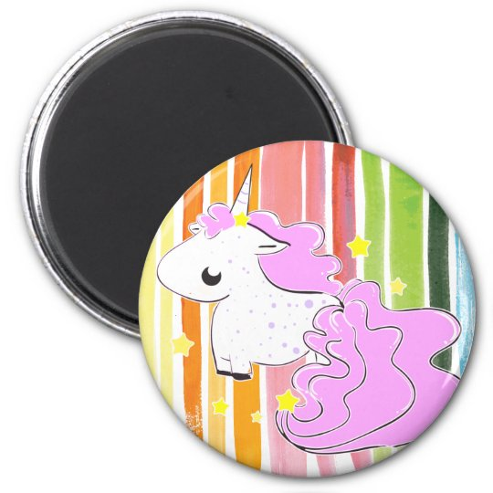 Pink cartoon unicorn with stars magnet