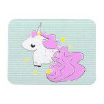 Pink cartoon unicorn with stars premium magnet