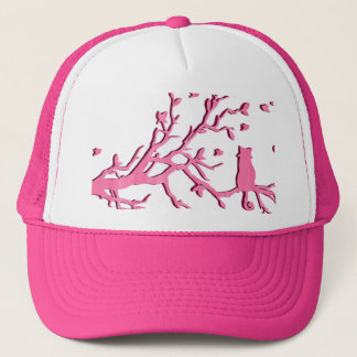 PINK CAT AND BIRDS, GIRLY HAT. TRUCKER HAT