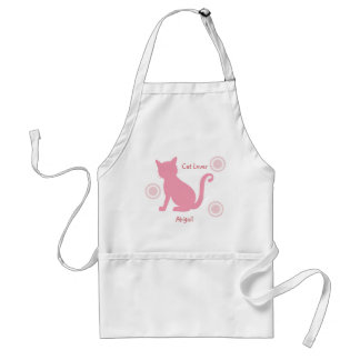Pink Cat and flowers Standard Apron