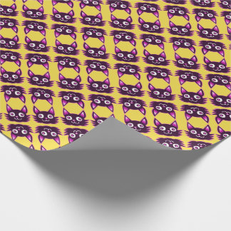 pink cat cartoon style vector illustration wrapping paper