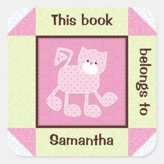 Pink Cat Faux Quilt Book Sticker