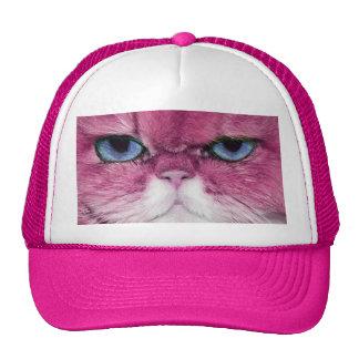PINK CAT FIERCE LOOK CAT EYES, FUN PINK CAT TRUCKER HAT