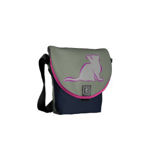 Pink cat, grey fill/black cat silhouette courier bag