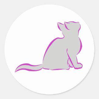 Pink cat, grey fill classic round sticker