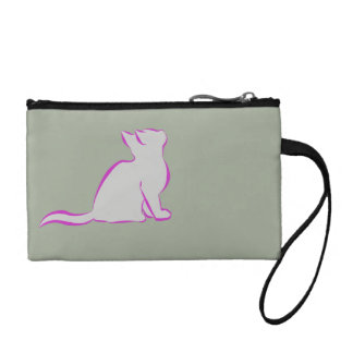 Pink cat, grey fill coin purse