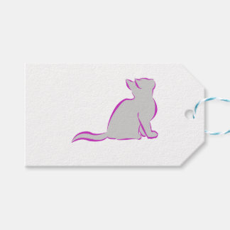 Pink cat, grey fill gift tags