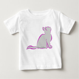 Pink cat, grey fill, inside text baby T-Shirt