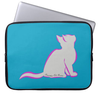 Pink cat, grey fill, inside text laptop sleeve