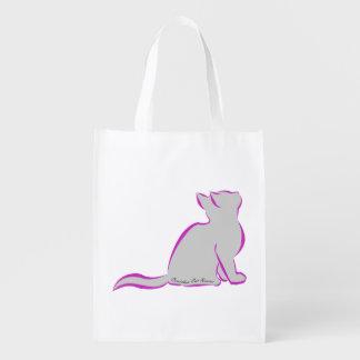 Pink cat, grey fill, inside text reusable grocery bag