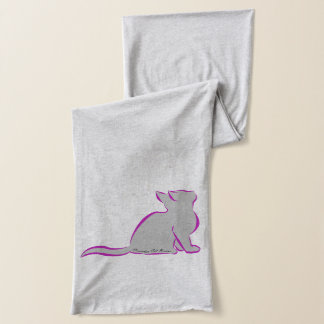 Pink cat, grey fill, inside text scarf