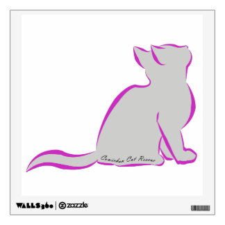 Pink cat, grey fill, inside text wall decal