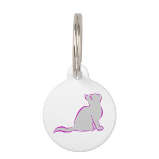 Pink cat, grey fill pet ID tag