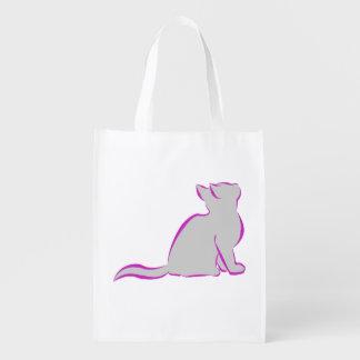 Pink cat, grey fill reusable grocery bag