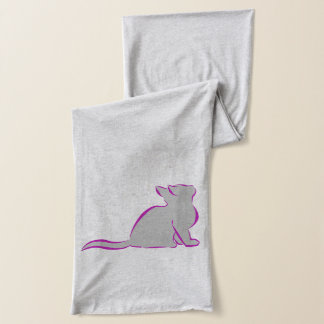 Pink cat, grey fill scarf