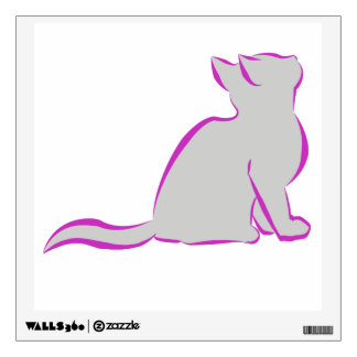 Pink cat, grey fill wall sticker