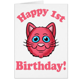 Pink Cat Head Happy 1st Birthday Card
