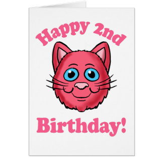 Pink Cat Head Happy 2nd Birthday Card