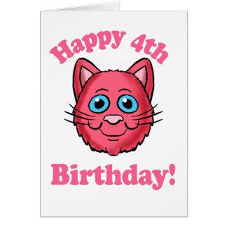 Pink Cat Head Happy 4th Birthday Card