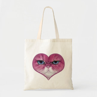 PINK CAT HEART, FUNNY SERIOUS PINK CAT IN A HEART