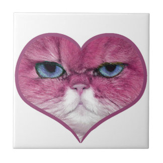 PINK CAT HEART, FUNNY SERIOUS PINK CAT IN A HEART CERAMIC TILE