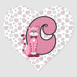 "Pink Cat Monogrammed ""C"" Heart Stickers"
