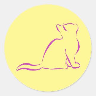 Pink cat silhouette classic round sticker
