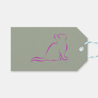 Pink cat silhouette gift tags