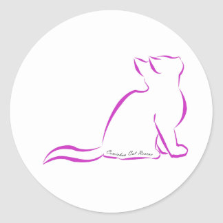 Pink cat silhouette, inside text classic round sticker