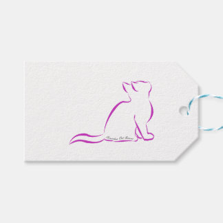 Pink cat silhouette, inside text gift tags