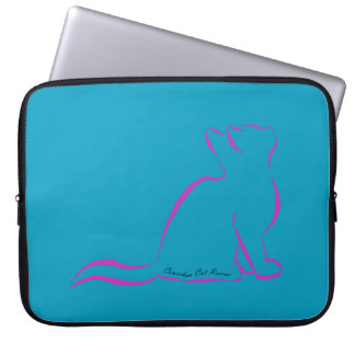 Pink cat silhouette, inside text laptop sleeve