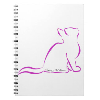Pink cat silhouette, inside text notebooks
