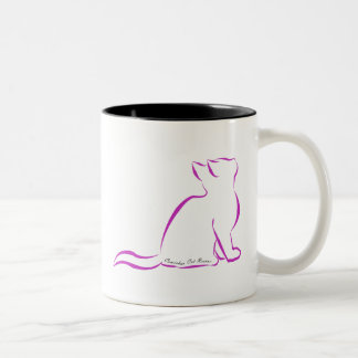 Pink cat, silhouette, inside text Two-Tone coffee mug