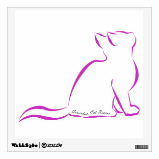 Pink cat silhouette, inside text wall decal