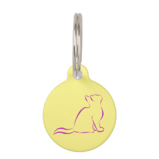 Pink cat silhouette pet name tag