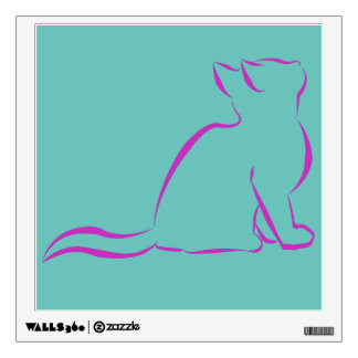 Pink cat silhouette wall decal