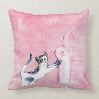 PINK CAT STRATCHING THE SOFA. DELICATE PINK KITTY THROW PILLOW