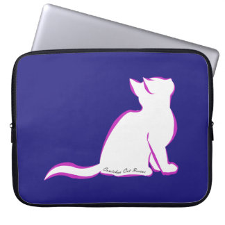 Pink cat, white fill, inside text laptop sleeve
