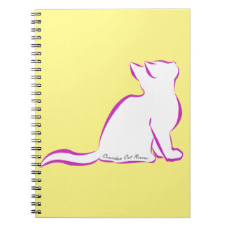 Pink cat, white fill, inside text notebooks