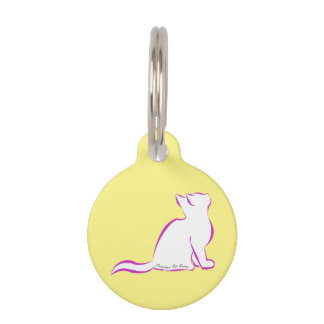 Pink cat, white fill, inside text pet name tag