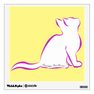 Pink cat, white fill, inside text wall sticker