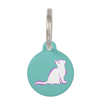 Pink cat, white fill pet name tag