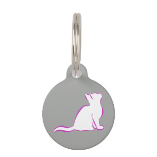 Pink cat, white fill pet name tags